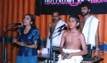 Children of Palanad Divakaran on the day of their first public performance (with Kottackal Madhu)