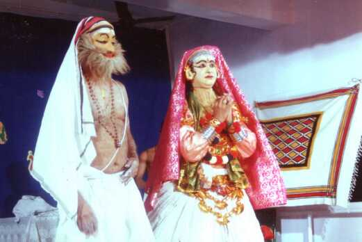 Ratheesh C.R. as Brahmanapathni in Santhanagopalam with Dr. Sabhapathy as Brahmanan