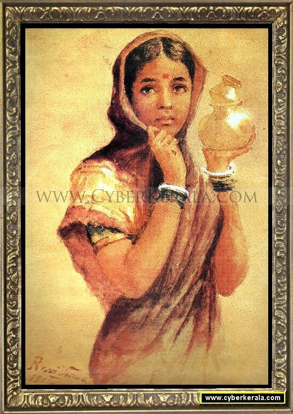 Painting of a north indian village girl carrying milk oil painting
