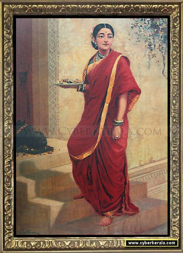 Raja Ravi Varma Oil Painting 48 - Lady Going for Pooja